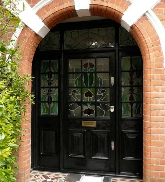 Historic wooden door, linseed-treated and restored