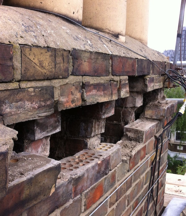 Chimney after removal of loose bricks