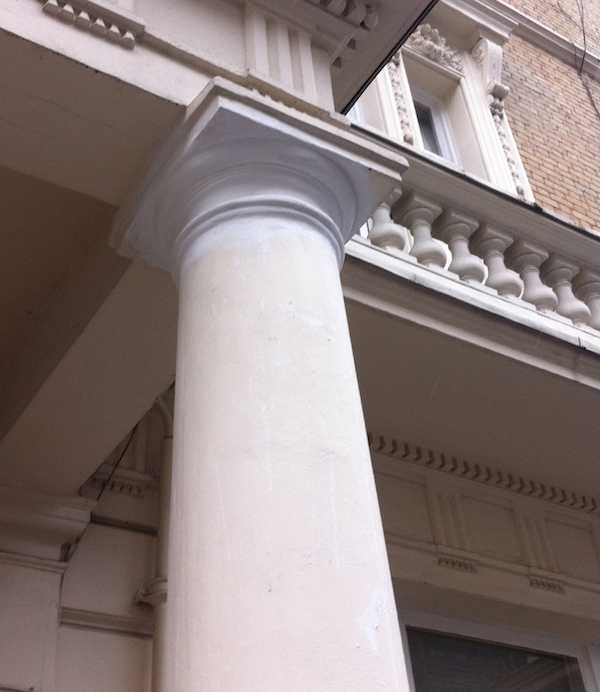 Top of column repaired with lime mortar